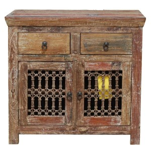 Jali Reclaimed Wood Iron Grill 2 Drawers Small Buffet Cabinet