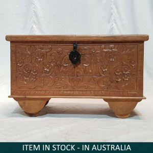 Solid wood Carved chest storage blanket box coffee table chest   90X45X45cm