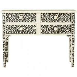 Maaya Bone Inlay Console Hall Table Black and White Floral