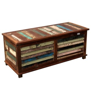 Salvage Reclaimed Wood Multi-Color Coffee Table Storage Trunk Chest