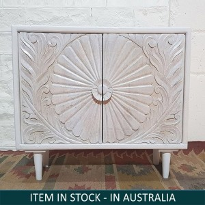 Hand Carved Indian Solid Wood Cabinet White
