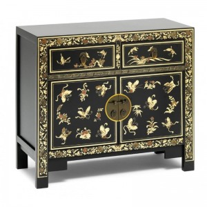 Golden Dragon Oriental Painted Solid Wood  Black Gold Sideboard 90x40x84cm