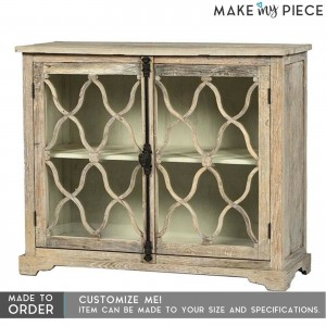French Style Arched Glass Door Sideboard Blue