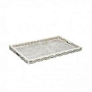 Maaya Bone Inlay Serving Tray - Chevron Design Black 49x39x5cm