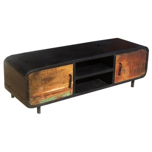 Miller Industrial Reclaimed Wood And Iron Media Tv Cabinet
