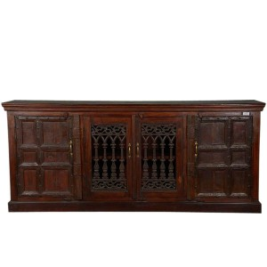 Jali Hand Carved Indian Reclaimed Wood Extra Large Buffet Sideboard