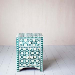 Maaya Bone Inlay Bedside table Green Floral