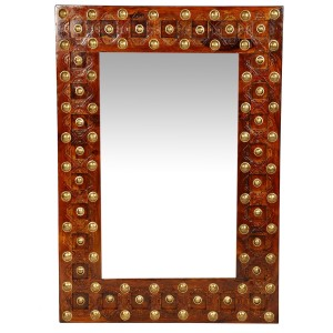 Mogra Antique Brass Work Mirror Frame Brass Work
