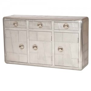 Aviator Aluminium Aviation rivet detail unusual 3 Drawers Sideboard
