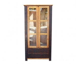 MADE TO ORDER Indian Lyon Wooden Large Cabinet With Glass Door 100x40x200 cm