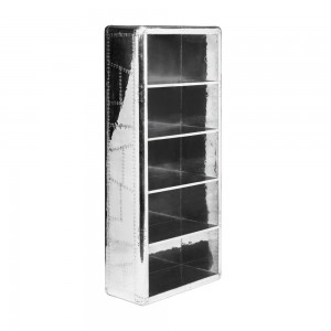 Aviator Aluminium Aviation rivet detail unusual Pilot BookCase 80cm