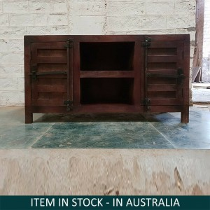Boston Indian Solid Wood Tv Cabinet With Doors Chocolate Brown