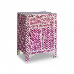 Maaya Bone inlay Geometric bedside Cabinet lamp table