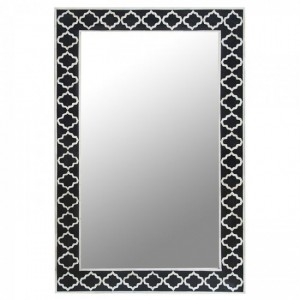 Maaya Bone Inlay Mirror Frame - Moroccan Design Black 60x5x90cm