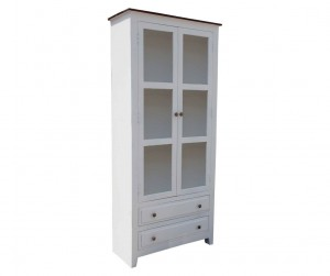 French Blanc Wooden Display Cabinet