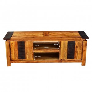 MADE TO ORDER Indian Lyon Wooden TV Unit Natural 1.8m