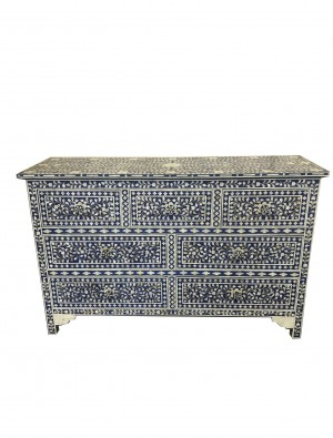 Midnight Blue Mother of Pearl 7 drawer chest sideboard