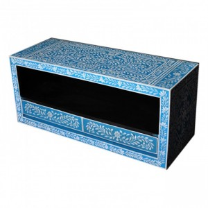 Pandora Bone Inlay Painted Blue Floral TV Unit