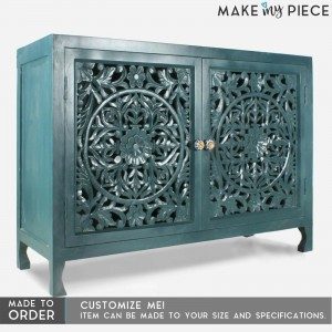 Jali Carved Solid wood 2 Door Sideboard TEAL
