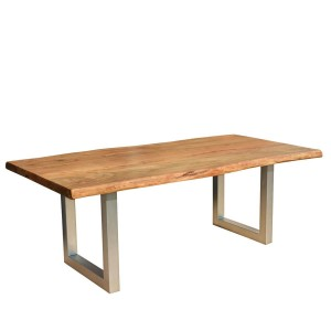 Industrial Solid Wood & Iron Base Live Edge Dining Table Natural