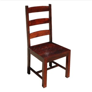 Indian Farmhouse Solid Wood Ladder Back Chairs Set of 2 Honey Brown