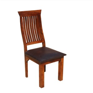 Indian Solid Wood & Leather Dining Chair Set of 2 Honey