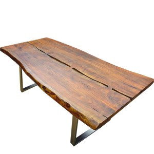Live Edge Solid Wood & Iron Legs Rustic Farmhouse Large Dining Table