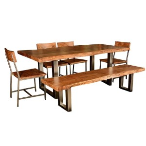 Modern Rustic Live Edge Dining Table & Chair Set with Live Edge Bench
