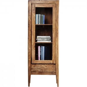 Boston Taper Contemporary Solid Wood Display Cabinet 1 Door 1 Drawer Natural