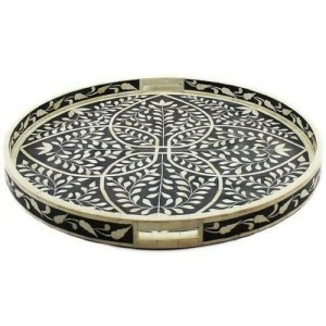 Maaya Bone Inlay Serving Tray - Floral Design Black 40x40x5cm