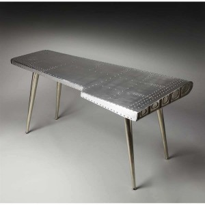Aviator Aluminium Aviation rivet detail unusual Console Table 170cm