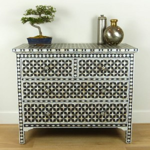 Mother of Pearl chest of Drawer sideboard Black