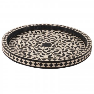 Maaya Bone Inlay Serving Tray - Floral Design Black 35x35x4cm