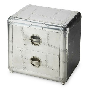 Aviator Aluminium Aviation rivet detail unusual Side Table Chest