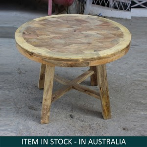 Round Solid Wood Coffee Table Natural 90x90x60 cm