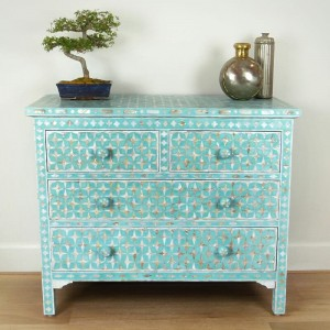 Mother of Pearl chest of Drawer sideboard Blue