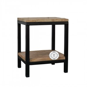 Indian Solid Mango Wood small Side table Metal Natural