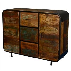 Miller Industrial Indian Reclaimed Wood 3 Drawer Sideboard