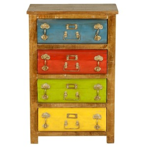 Industrial Indian Solid Wood Chest Of Drawers Multi Colored