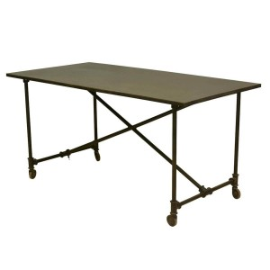Industrial On the Move Iron Rolling Work Space Table Black