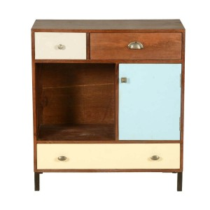 Vivid Indian Solid Wood Open Display Mini Cabinet With Chest Of Drawers