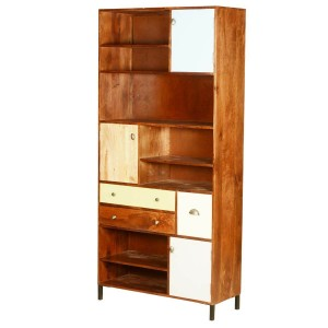 Ammon Rustic Solid Wood Bookcase with Doors & Drawers