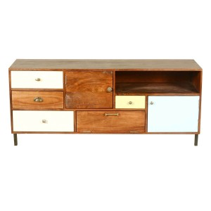 Vivid Indian Solid Mango Wood Combo Dresser With 4 Drawers