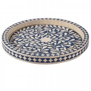 Maaya Bone Inlay Serving Tray - Floral Design Blue 35x35x4cm