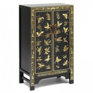 Golden Dragon Oriental Decorated Solid Wood Black Medium Cabinet 70x40x120cm
