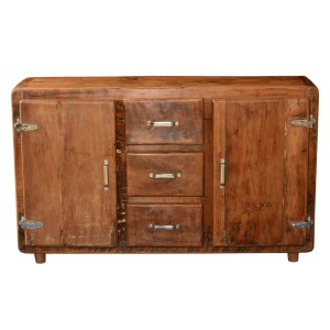 Cormer Farmhouse Rustic Reclaimed Wood 3 Drawer Buffet Sideboard