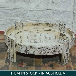 Tribal Chakki Antique Grinder Full Round White Coffee Table