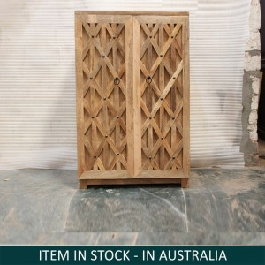 Mandala Indian Hand Carved Solid Wood Bar Cabinet Natural