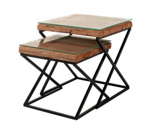 Live Edge X Design Nested Table Industrial Lamp Table Square 45x45x50cm