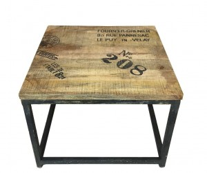 Barn Industrial Vintage Square Table with Metal Legs